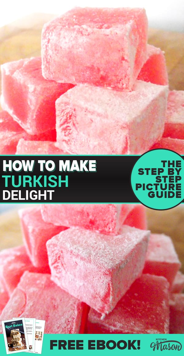This easy turkish delight recipe is perfect as a homemade gift but also an impressive party recipe. Click to try it out for yourself! #turkishdelight #rosewater #homemadegift
