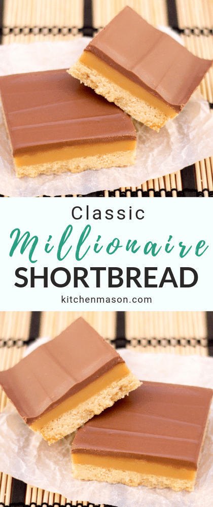 This classic millionaire's shortbread recipe is perfect for weekend baking! It's also an impressive dessert recipe & a beautiful homemade gift idea. Click to try it out for yourself! #caramelshortbread #millionaireshortbread #caramelslice