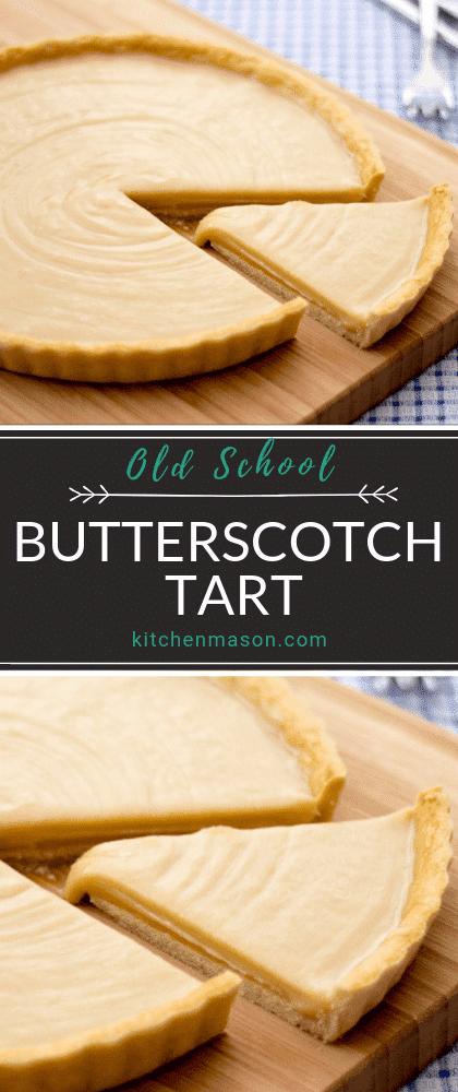 Butterscotch Tart on a chopping board