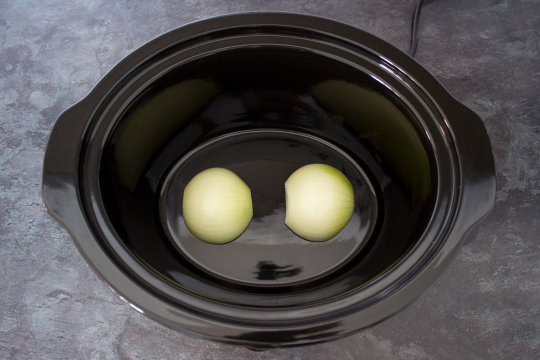 two onions in a slow cooker