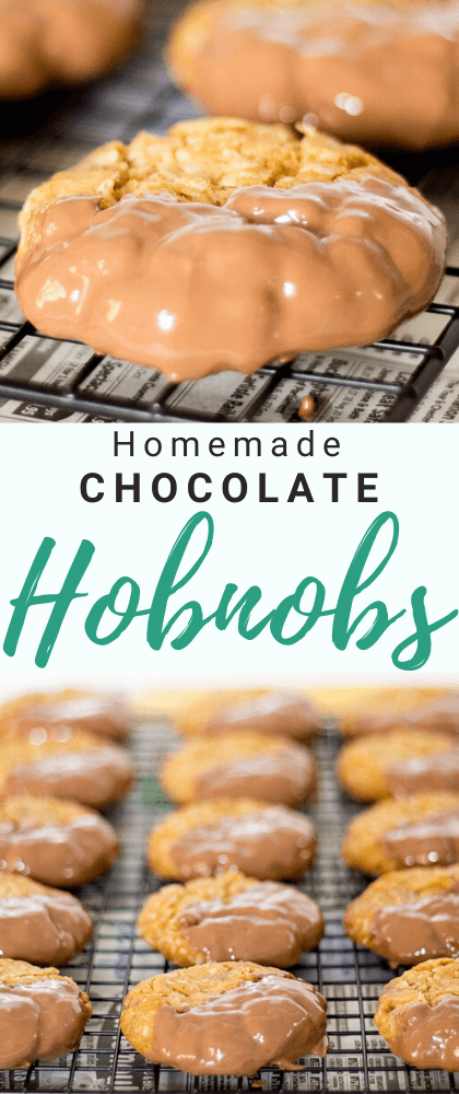 Chocolate hobnobs on a cooling rack set over newspaper dipped in chocolate