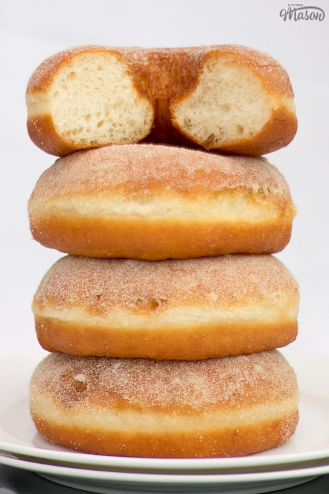 homemade doughnuts in a stack