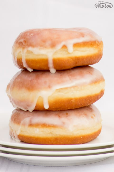 glazed homemade doughnuts in a stack