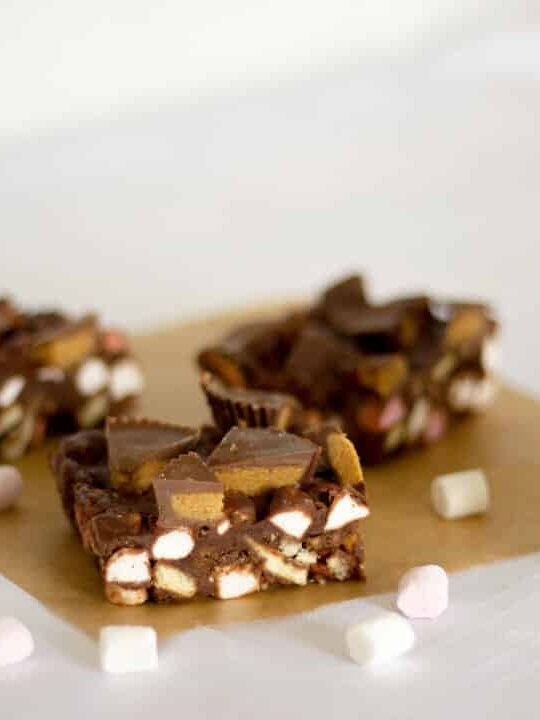 Reese's Peanut Butter Cup Rocky Road   No Bake   Chocolate