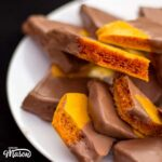 Chocolate Cinder Toffee Recipe: chocolate cinder toffee on a plate