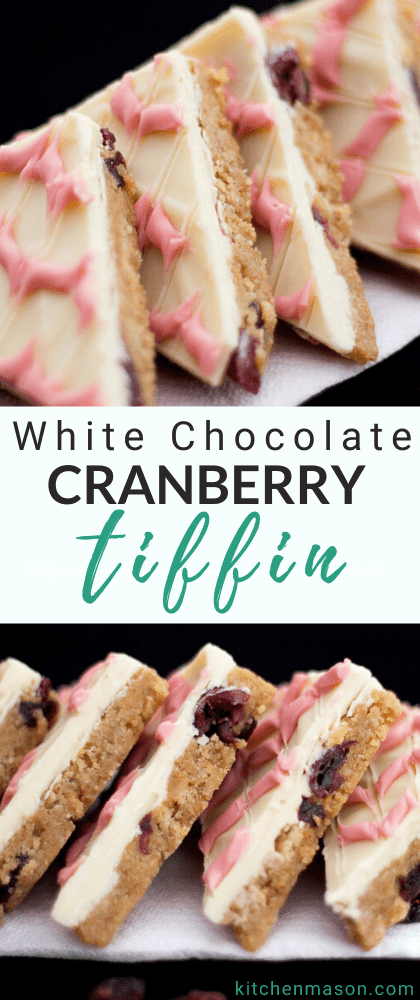 Cranberry white chocolate tiffin triangles in a line