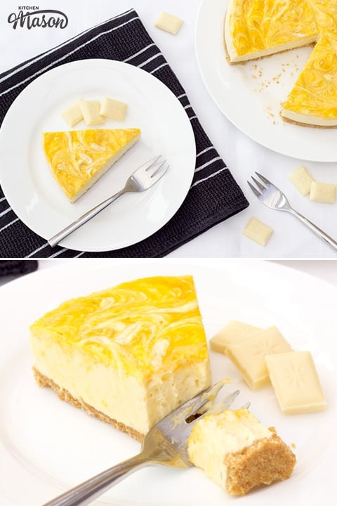Mango & White Chocolate cheesecake on a plate