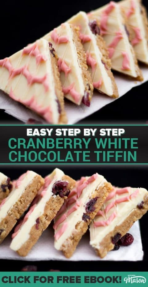 Cranberry White Chocolate Tiffin Slices in a row