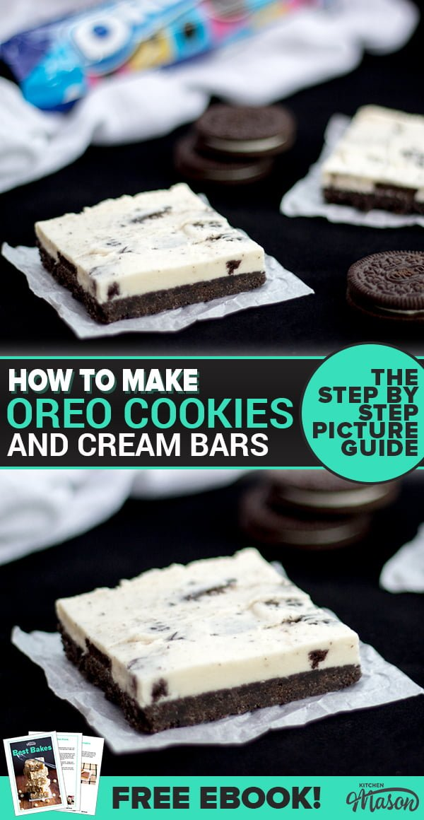 Oreo Cookies & Cream Bars on sheets of baking paper