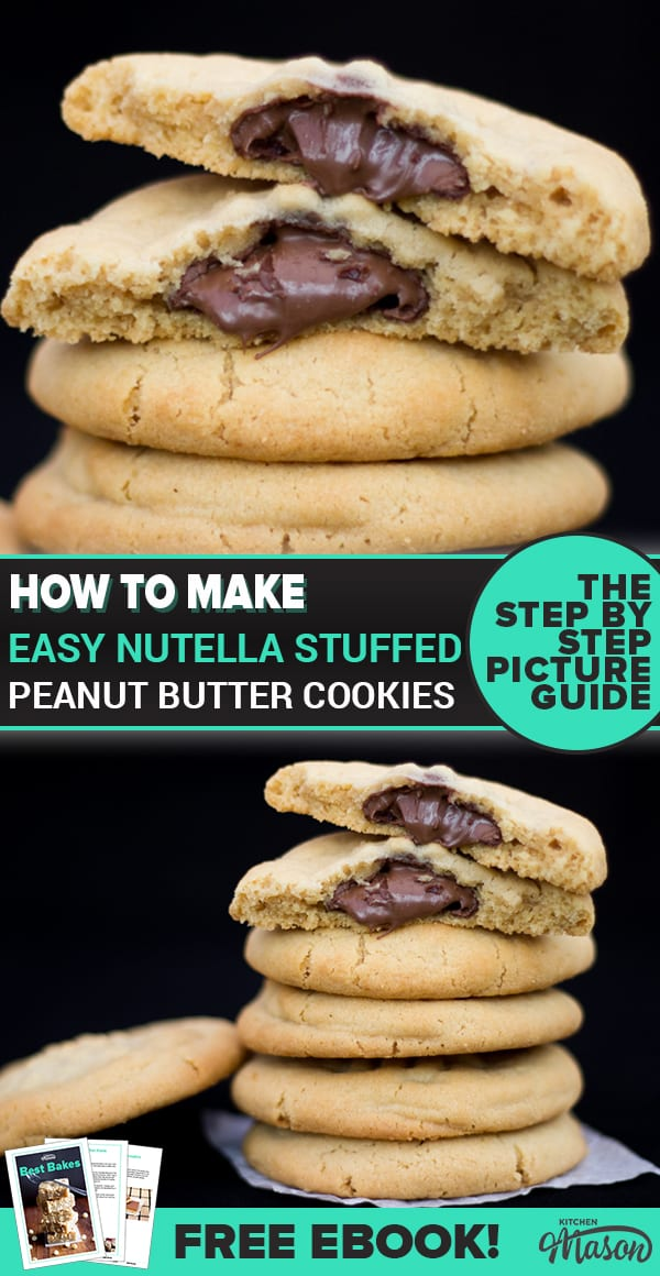 Nutella Stuffed Peanut Butter Cookies in a stack