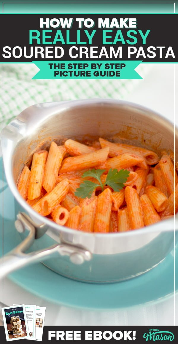 soured cream penne pasta in a small saucepan on a blue plate