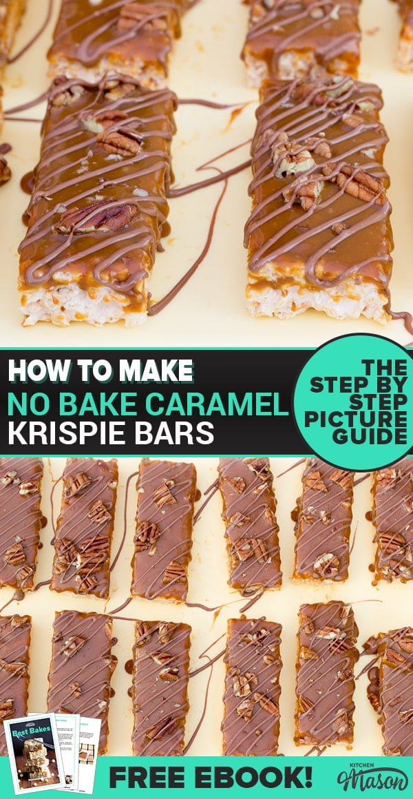 Caramel Krispie Bars on a sheet of baking paper
