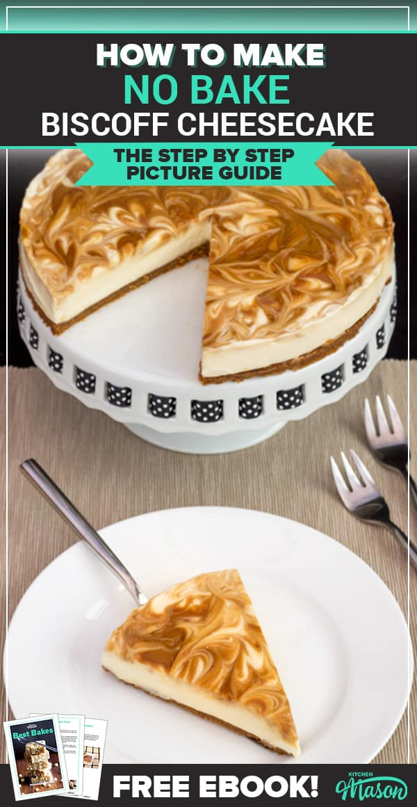Biscoff Cheesecake on a plate and a cake stand