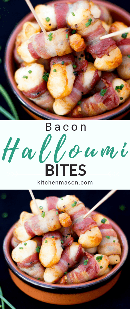 bacon halloumi bites in a small dish with cocktail sticks