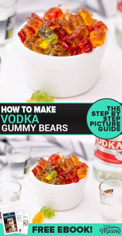 Vodka Gummy Bears in a small bowl