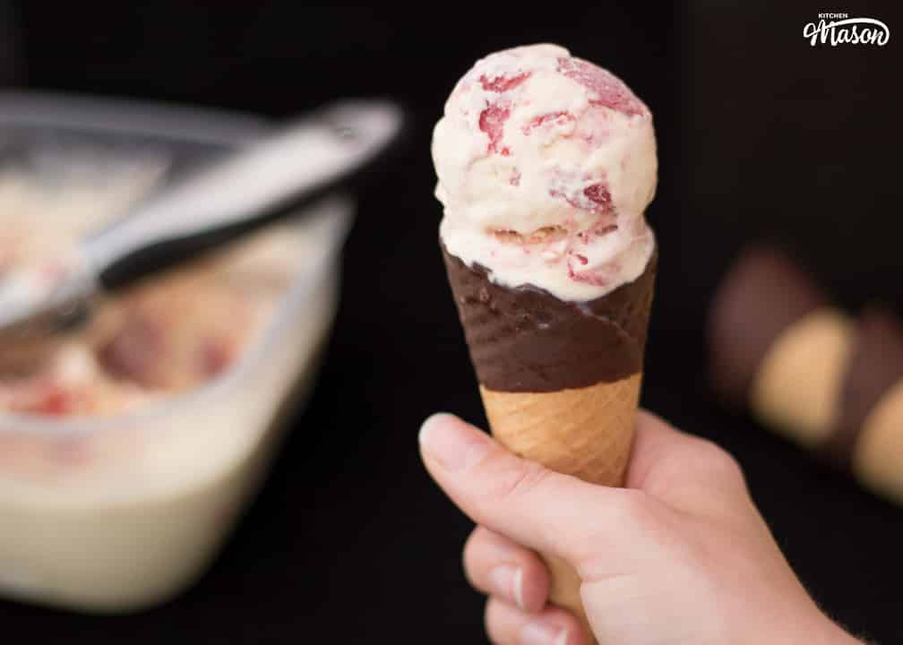 Scoop of Rhubarb and Custard Ice Cream in a cone