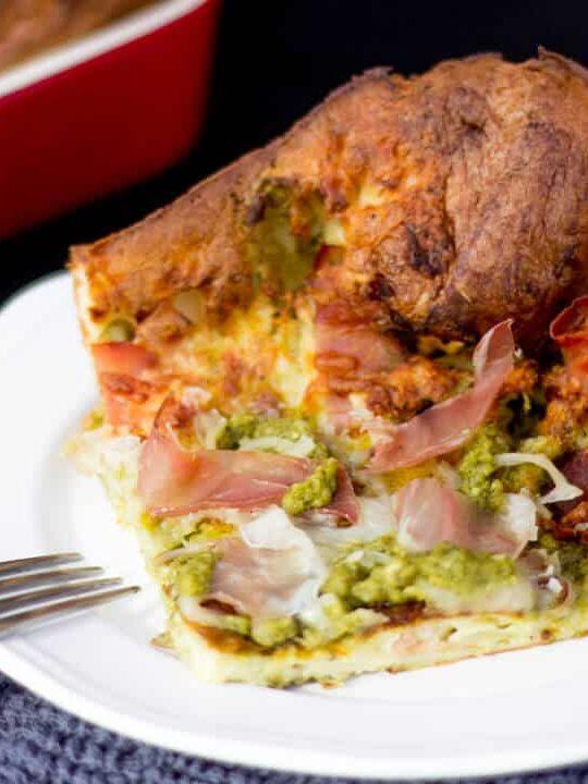 Pesto Prosciutto Yorkshire Pud Bake
