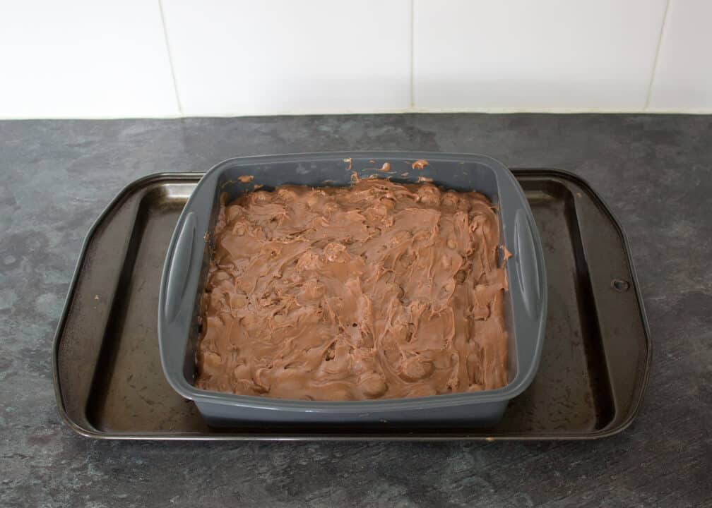 Maltesers Microwave Fudge mixture in a silicone pan