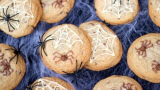 Chocolate Chip Halloween Spider Cookies