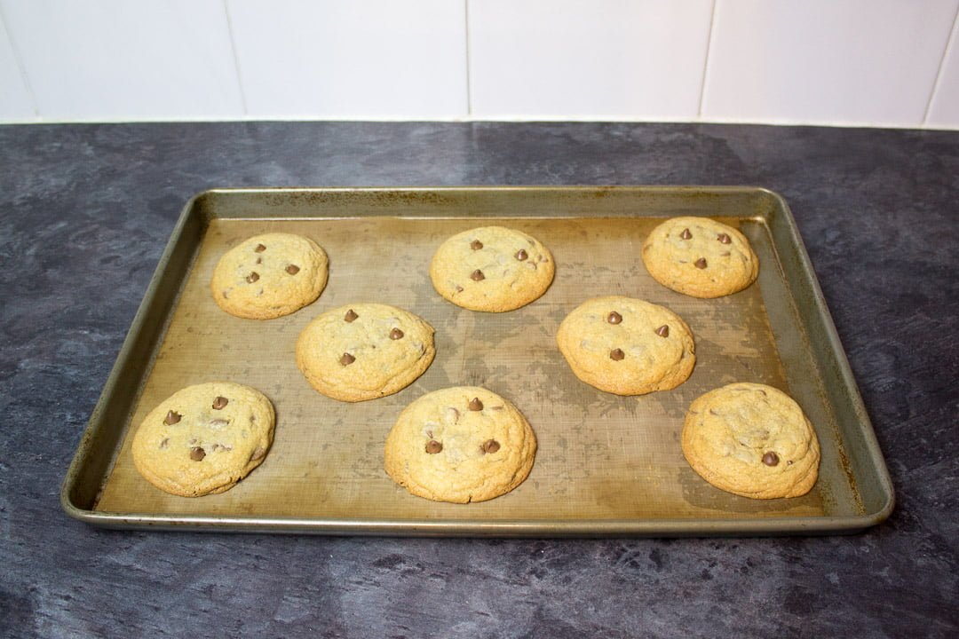baked halloween spider cookies on a lined baking sheet with chocolate chips pressed into the top