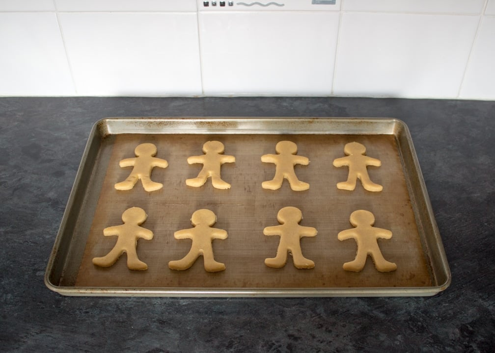 Ginger-Dead Men Halloween Biscuits on a baking tray
