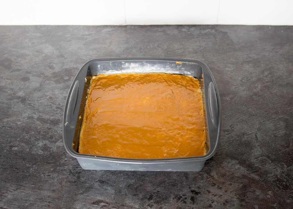Biscoff fudge in a silicone pan