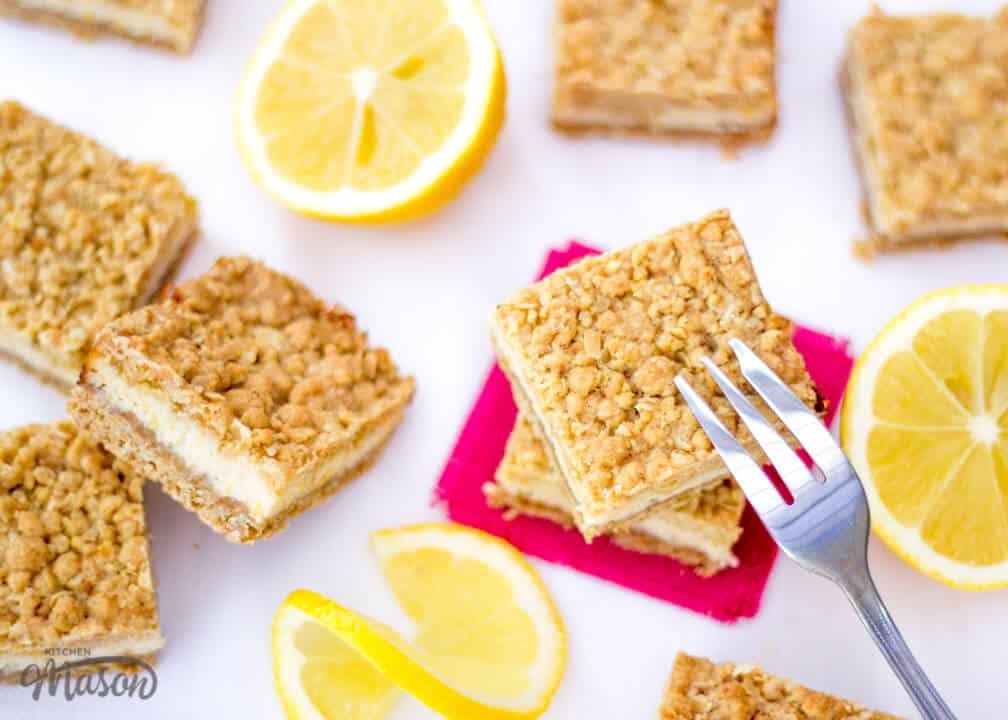 Lemon Cream Crumble Bars | Tray Bake | Easy | Oat | Condensed Milk