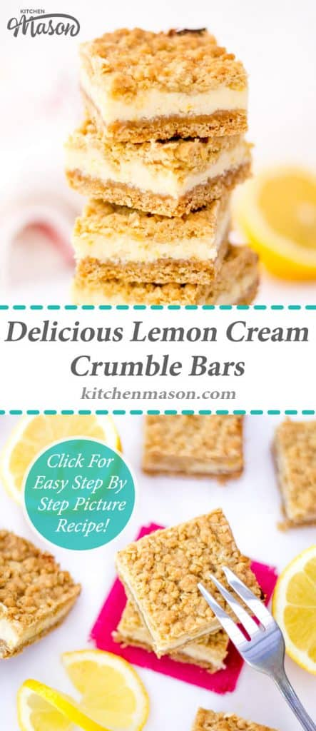 Lemon Cream Crumble Bars | Tray Bake | Easy | Oat | Condensed Milk