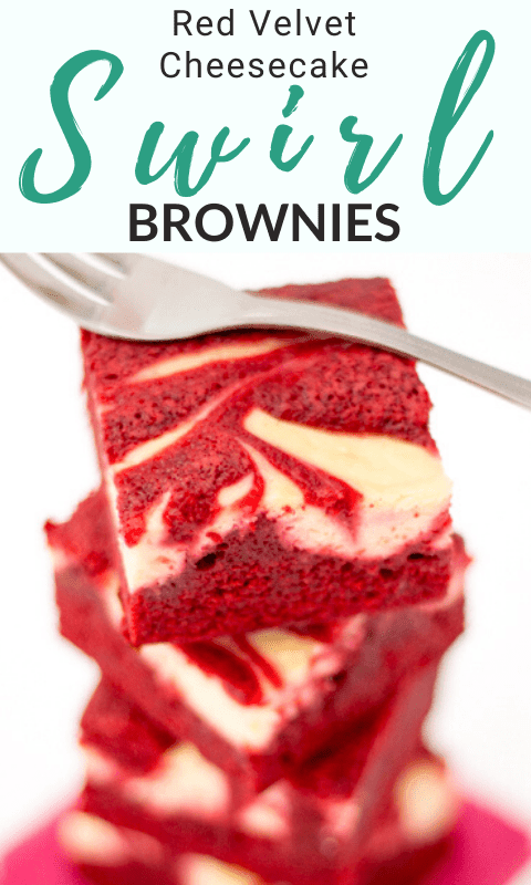 Red Velvet Cheesecake Swirl Brownies in a stack with a fork on top