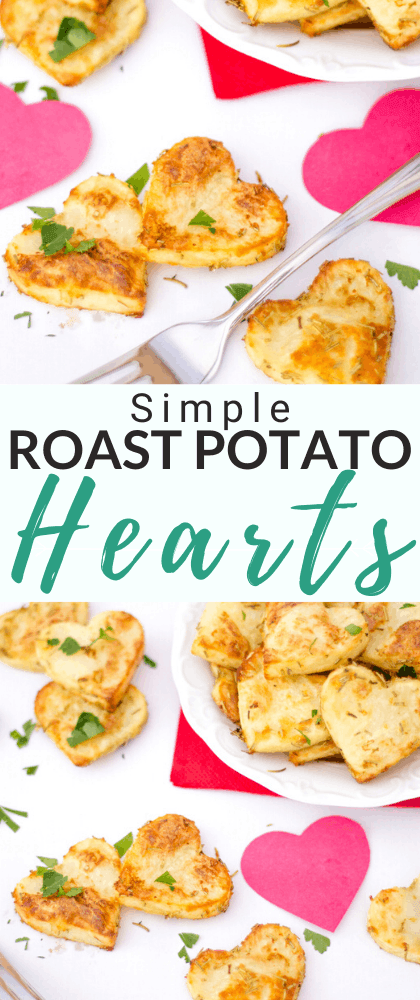 Roast potato hearts on a plate with a fork and pink paper hearts