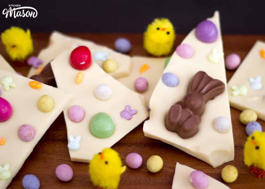 White Chocolate Easter Bark | No Bake | Easy | Eggs | Malteser Bunnies