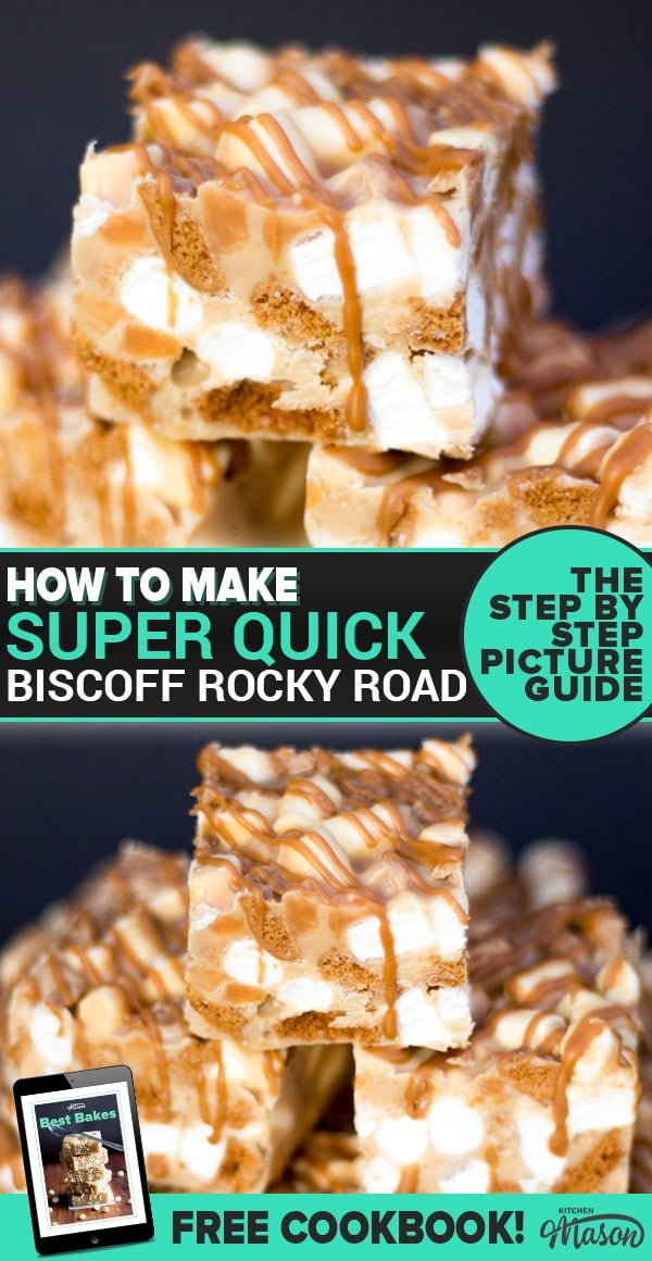 Biscoff Rocky Road bars in a stack