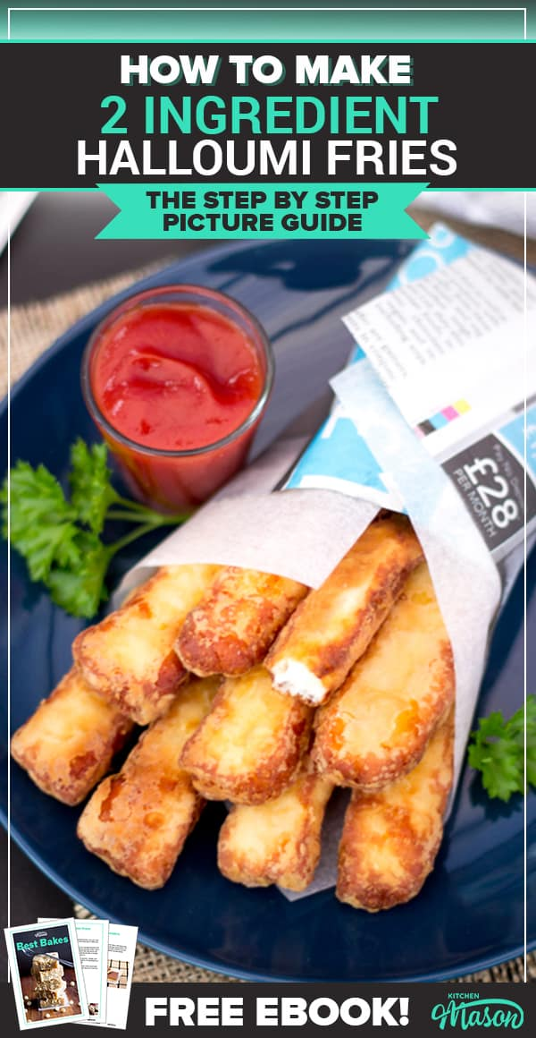 Halloumi Fries on a plate with tomato sauce