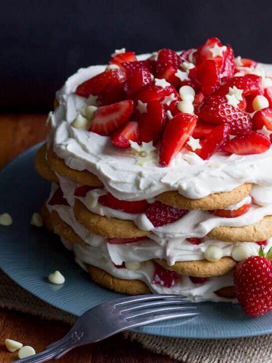Strawberries & Cream Icebox Cake on a plate