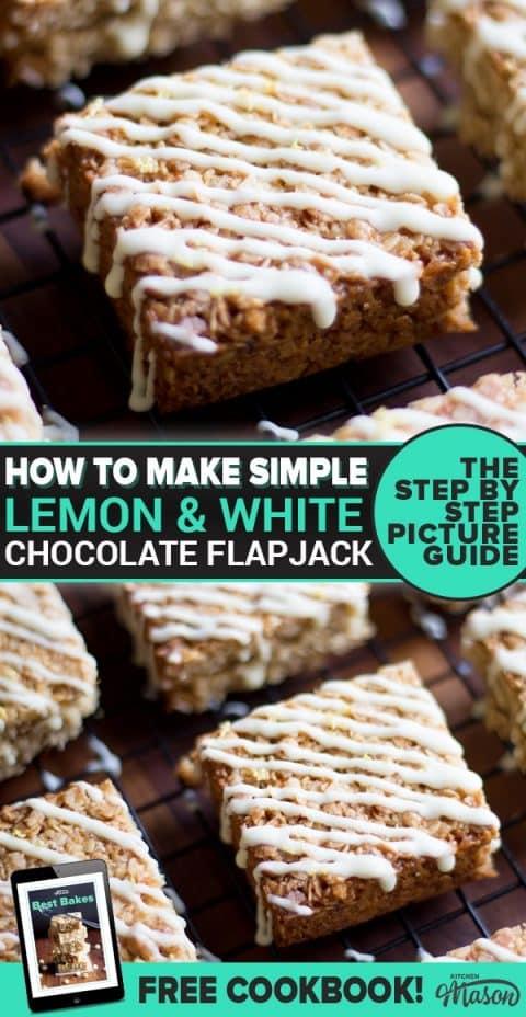 Lemon & White Chocolate Flapjack on a cooling rack