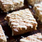 Lemon & White Chocolate Flapjack on a cooling rack