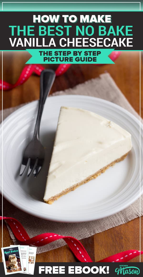 Slice of no bake vanilla cheesecake on a plate