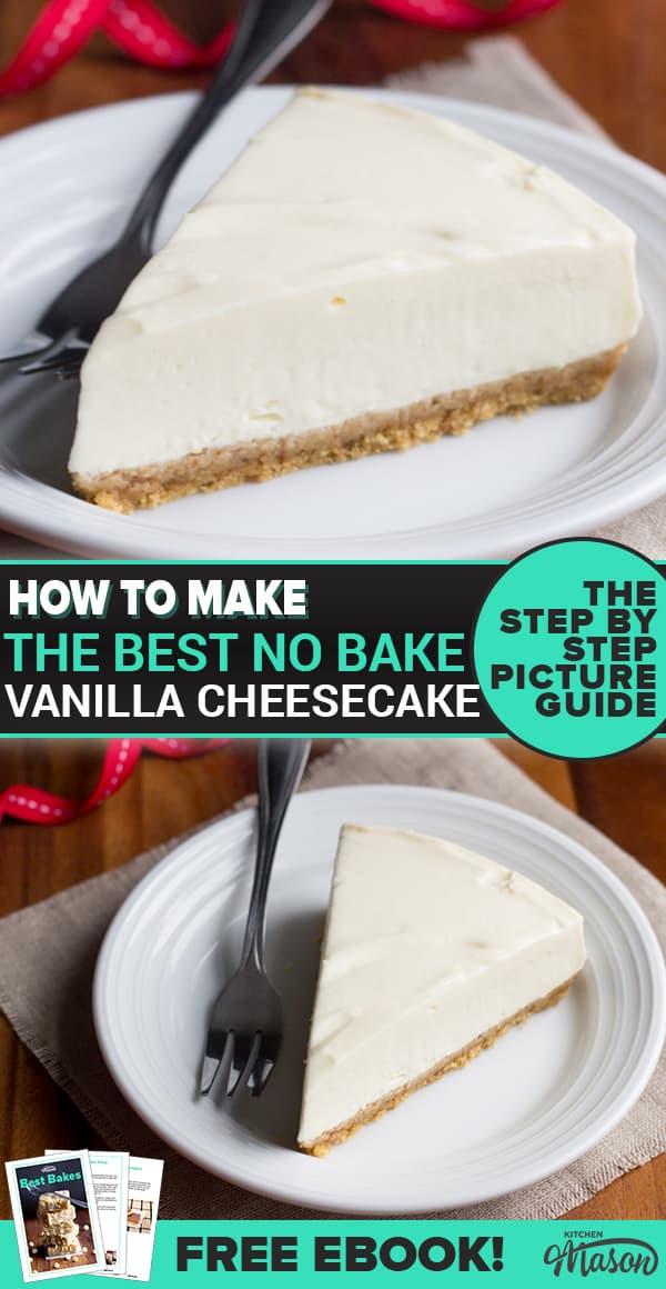 Slice of no bake vanilla cheesecake on a plate
