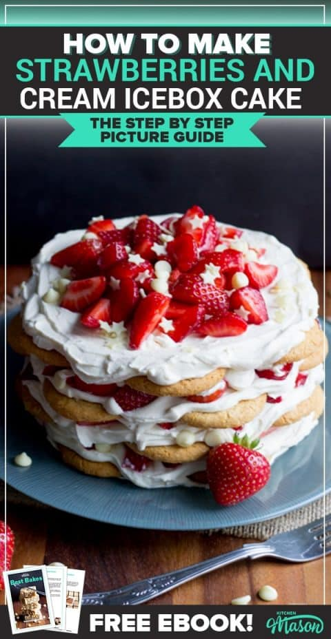Strawberries & Cream Icebox Cake on a plate