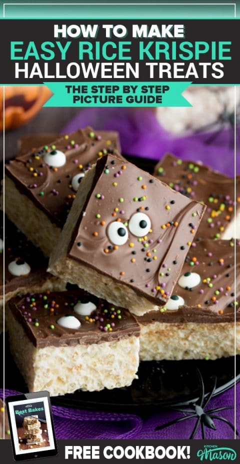 These CRAZY easy rice krispie Halloween treats are SO quick to make! Perfect for a Halloween party and a great recipe for kids. Click through to see for yourself! #halloweenrecipes #halloweenfood #halloweentreats #ricekrispiebars