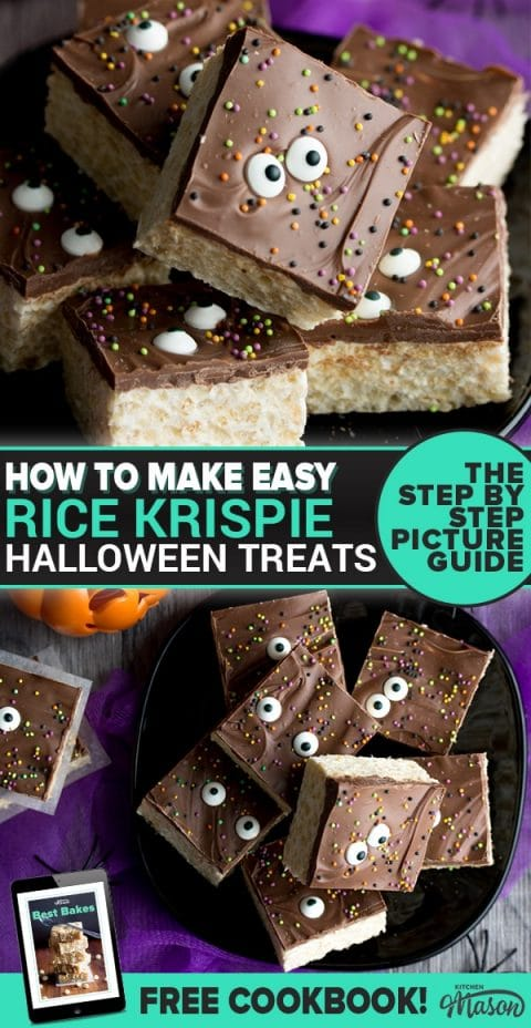 Rice Krispie Halloween treats on a plate with fake spiders