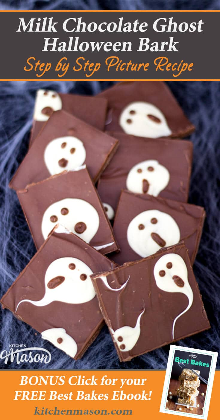 Milk Chocolate Ghost Halloween Bark | Easy Halloween Recipes