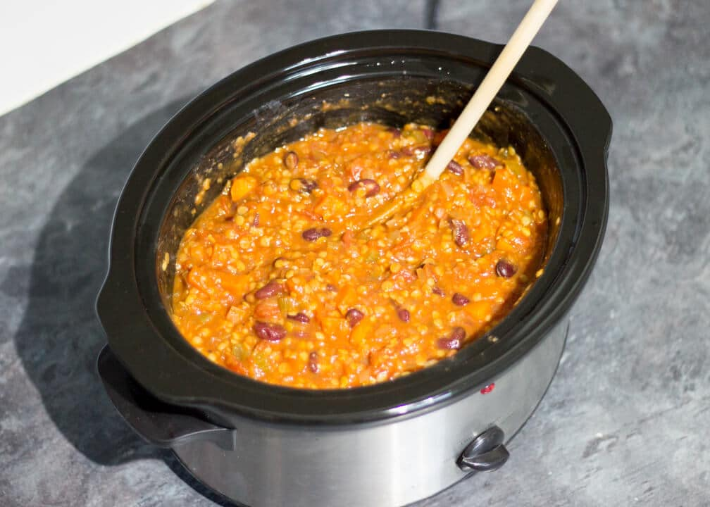 vegetarian chili in a slow cooker