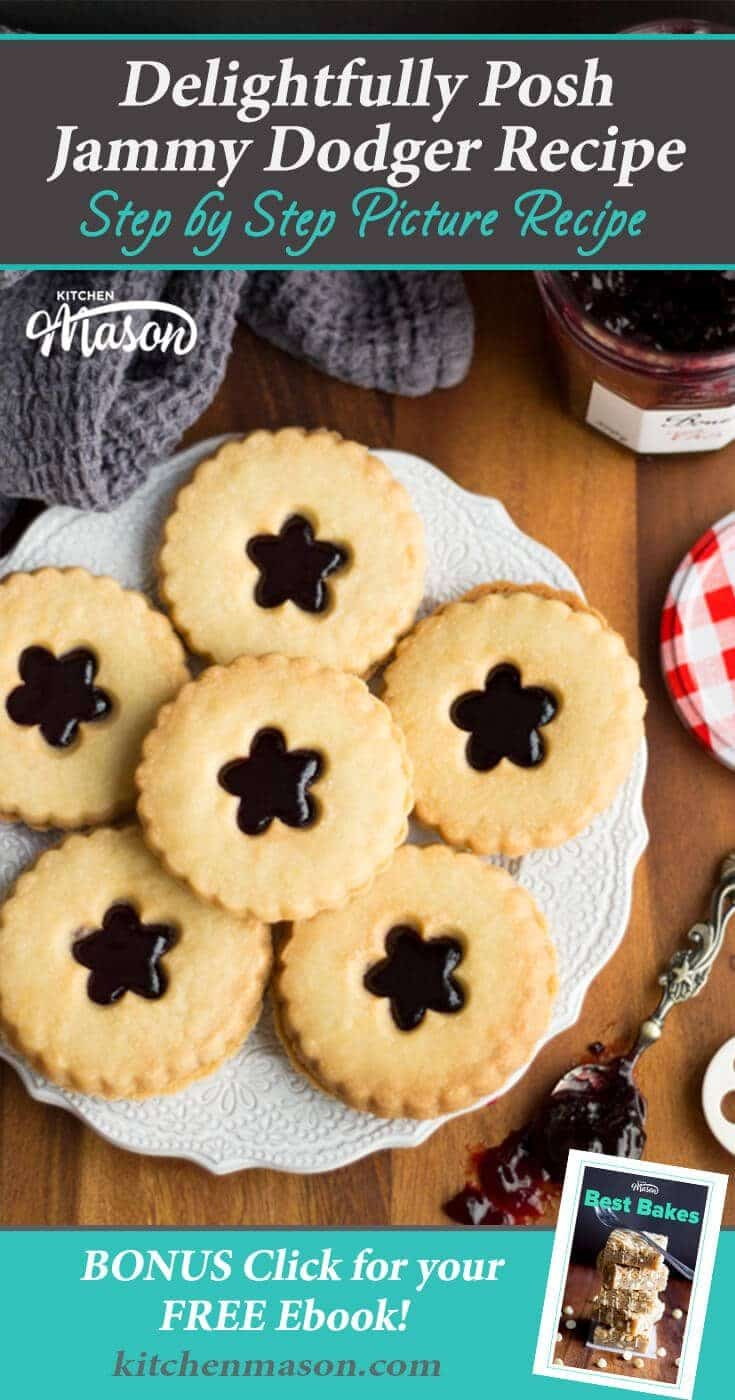 Make your own homemade jammy dodgers with this easy cookie recipe! #jammydodgers #cookierecipes #biscuitrecipes