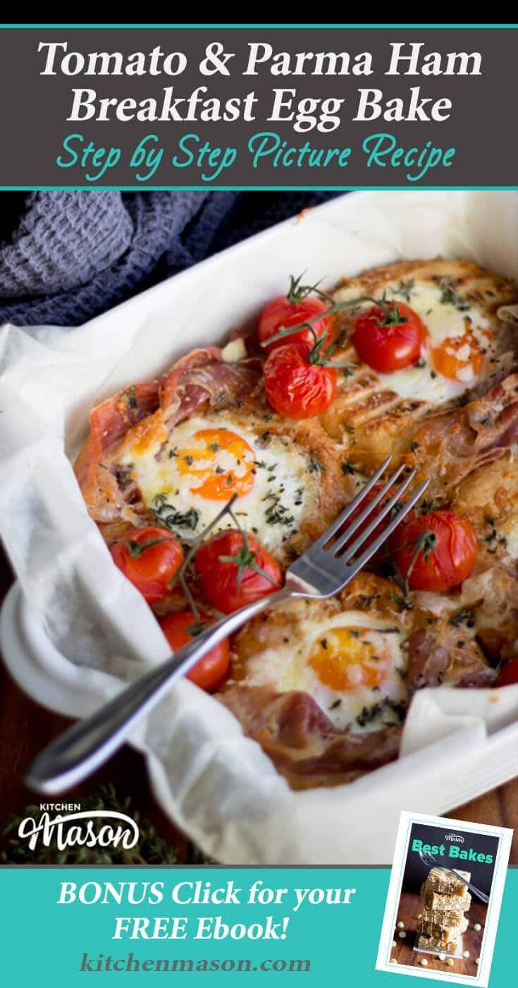 This gorgeous tomato & parma ham breakfast bake recipe is how all breakfasts should be! #breakfastrecipes #breakfast #bagels #eggrecipes
