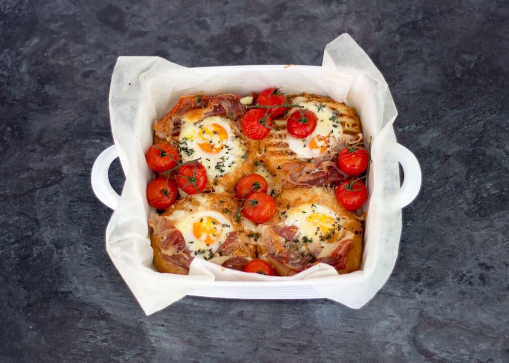 Tomato & Parma Ham Breakfast Egg Bake Recipe | Easy Breakfast Recipe