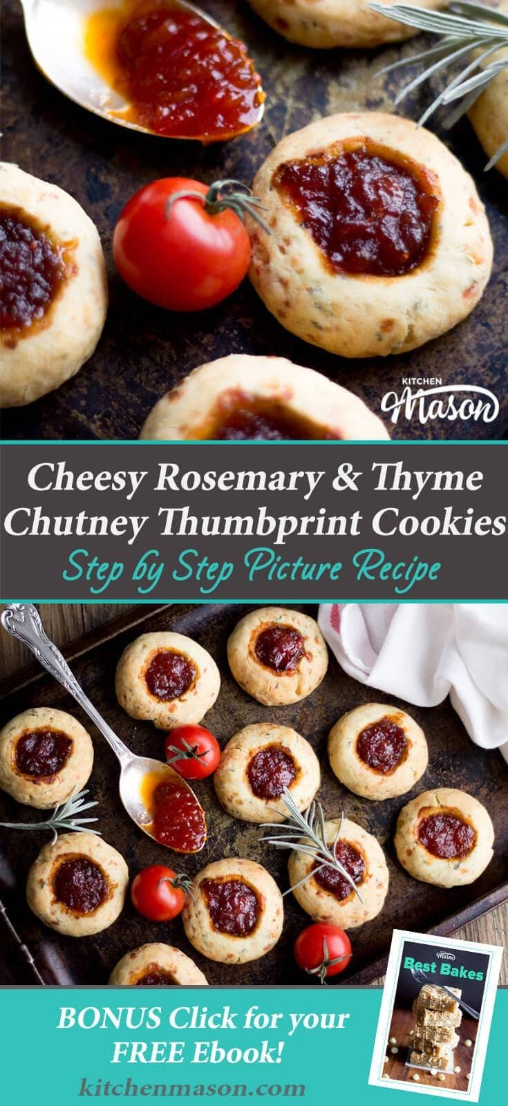 This cheesy rosemary and thyme chutney thumbprint cookie recipe makes the PERFECT party food or snacks! So moreish, you'll have to make two batches... #partyfood #snacks #thumbprintcookies