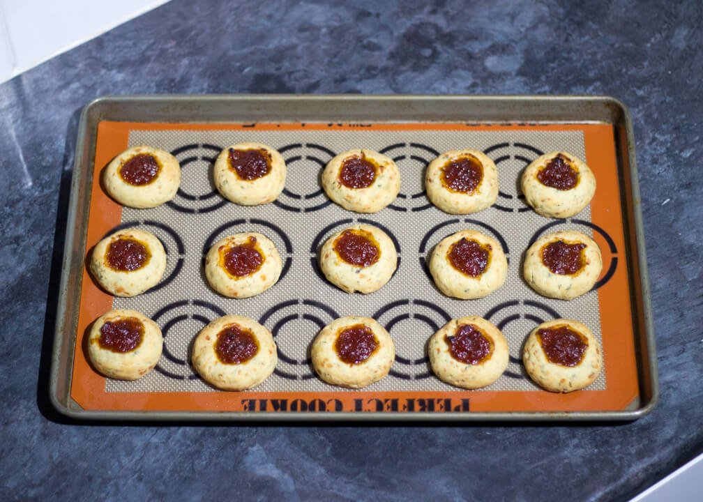 Cheesy Rosemary & Thyme Thumbprint Cookie Recipe with Sweet Tomato & Chilli Chutney