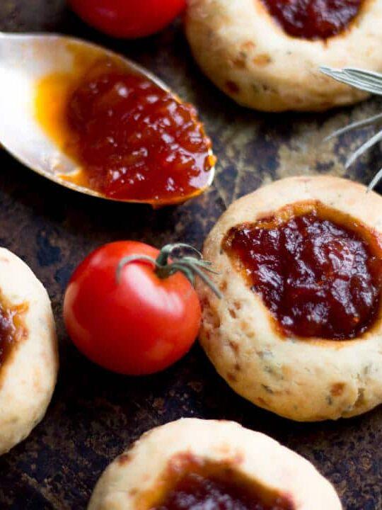 Cheesy Rosemary & Thyme Chutney Thumbprint Cookie Recipe with Sweet Tomato & Chilli Chutney