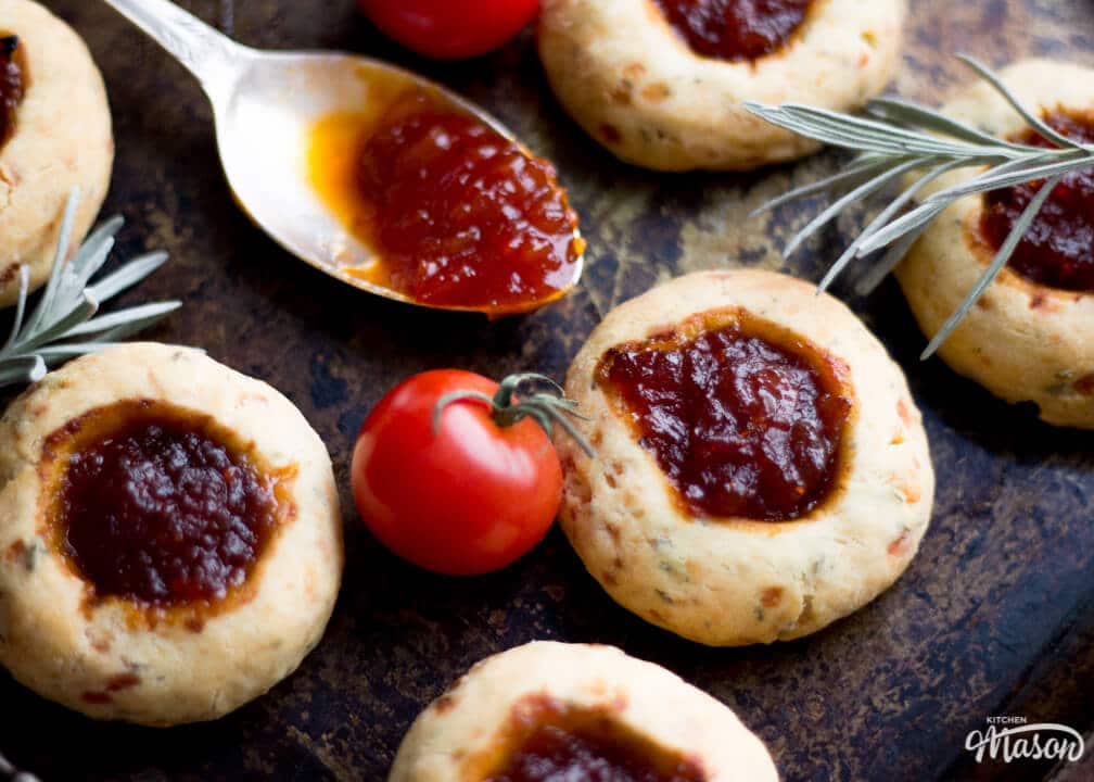 Cheesy Rosemary & Thyme Chutney Thumbprint Cookie Recipe with Sweet Tomato & Chilli Chutney